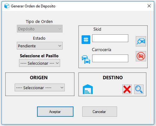Opción generar orden de depósito
