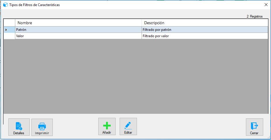 Opción tipos de filtros de carrocerías