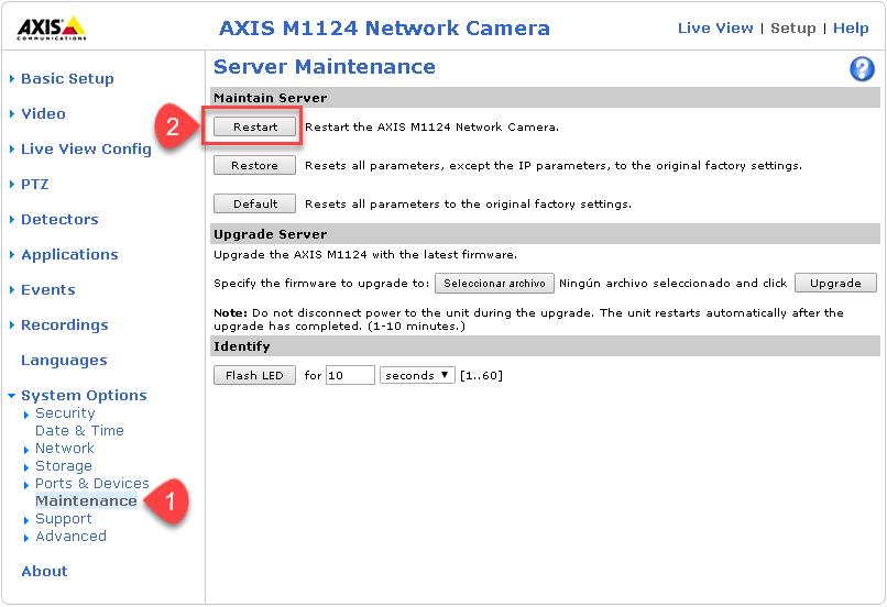 Axis Camera - Restart Steps